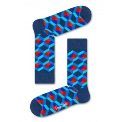 optic square socks blau